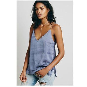 Free People Sensual Satin Scallop Deep V Cami